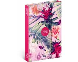 Týdenní diář Tropické listy 2021 - východoevropský magnetický, 11x16 cm