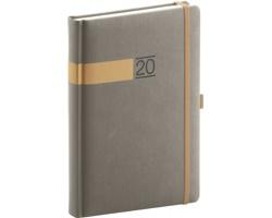 Denní diář Twill 2020, A5 - šedá / zlatá