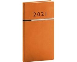 Kapesní týdenní diář Tomy 2021, 9x16 cm - oranžová / černá