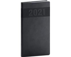 Kapesní týdenní diář Aprint 2021, 9x16 cm - černá