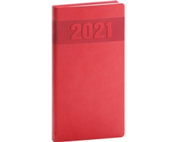Kapesní týdenní diář Aprint 2021, 9x16 cm - červená