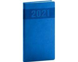 Kapesní týdenní diář Aprint 2021, 9x16 cm - modrá