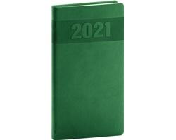 Kapesní týdenní diář Aprint 2021, 9x16 cm - zelená