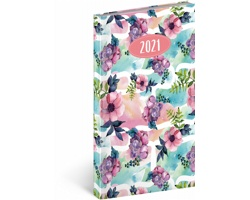 Kapesní týdenní diář Cambio Fun 2021, 9x16 cm - květiny