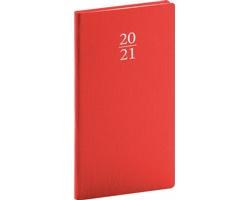 Kapesní týdenní diář Capys 2021, 9x16 cm - červená