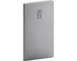 Kapesní týdenní diář Capys 2021, 9x16 cm - stříbrná