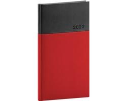 Kapesní týdenní diář Dado 2022, 9x16 cm - červená / černá