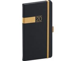 Kapesní týdenní diář Twill 2020, 9x16cm - černá / zlatá