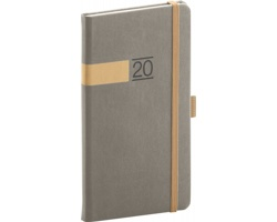 Kapesní týdenní diář Twill 2020, 9x16cm - šedá / zlatá