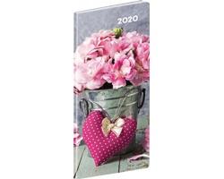 Kapesní měsíční diář Květiny 2020 plánovací, 8x18cm