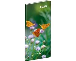 Kapesní měsíční diář Motýli 2020 plánovací, 8x18cm