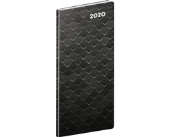 Kapesní měsíční diář Černý kov 2020 plánovací, 8x18cm