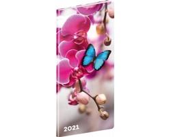 Kapesní měsíční diář Motýli 2021 plánovací, 8x18 cm