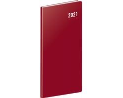 Kapesní měsíční diář Vínový 2021 plánovací, 8x18 cm