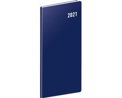 Kapesní měsíční diář Modrý 2021 plánovací, 8x18 cm