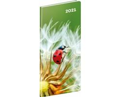 Kapesní měsíční diář Lienka SK 2021 plánovací, 8x18 cm
