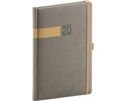 Týdenní diář Twill 2020, 15x21cm - šedá / zlatá