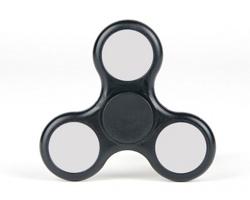 Reklamní plastový Fidget Spinner CLASSIC LED s potiskem - barva BLACK