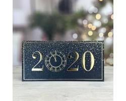 Otevírací novoročenka GL208 - černá / zlatá / stříbrná