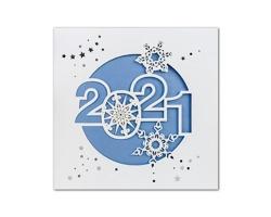Otevírací novoročenka GL2144 - bílá / modrá / stříbrná