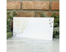 Novoroční PF karta GL2228 - bílá / zlatá / stříbrná