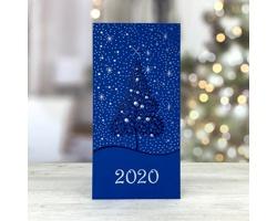 Otevírací novoročenka GL229 - modrá / stříbrná