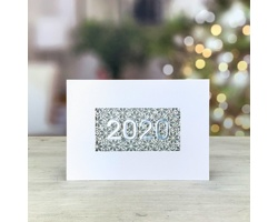 Otevírací novoročenka GL233 - bílá / stříbrná