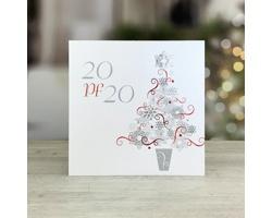 Otevírací novoročenka GL240 - bílá / stříbrná / červená