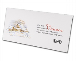 Novoroční PF karta GL854 - bílá / stříbrná