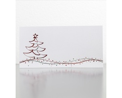Novoroční PF karta GL938 - bílá / stříbrná / červená