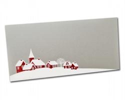 Novoroční PF karta PF826 - stříbrná / bílá / červená
