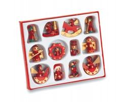 Vánoční dekorace DEWITT ze dřeva, 12ks - červená