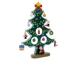 Dřevěný vánoční stromek TRACEY s ozdobami - zelená