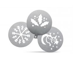 Kovové šablony na kávu TREVA s vánočními motivy - matně stříbrná