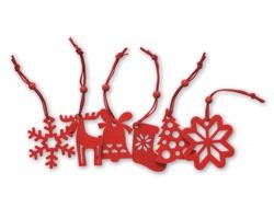 Sada plstěných vánočních ozdob EDDY na stromeček, 6ks - červená