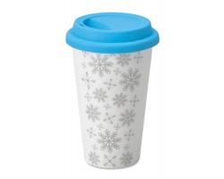 Keramický cestovní hrnek RASH s vánočním motivem sněhových vloček, 275 ml - tyrkysová