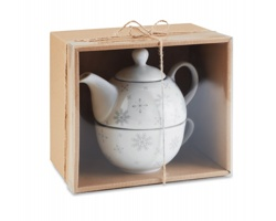 Keramický vánoční čajový set OUTMARCH, 2 komponenty - šedá
