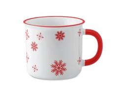 Keramický vánoční hrnek ALES s motivem sněhových vloček, 290 ml - červená
