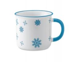 Keramický vánoční hrnek ALES s motivem sněhových vloček, 290 ml - tyrkysová