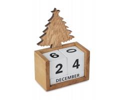 Dřevěný stolní kalendář ROSH s vánočním stromem - hnědá (dřevo)