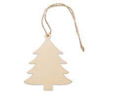 Dřevěná vánoční ozdoba DESC ve tvaru stromečku - hnědá (dřevo)