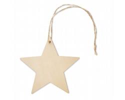 Dřevěná vánoční ozdoba STARLY ve tvaru hvězdy - hnědá (dřevo)