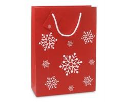 Papírová vánoční taška NOXON s motivem sněhových vloček - červená