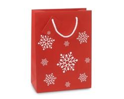 Papírová vánoční taška NOXON II s motivem sněhových vloček - červená