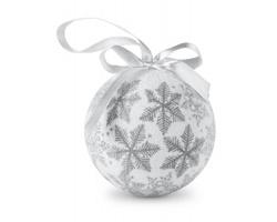 Vánoční ozdoba tvaru koule GILBOA s mašlí - stříbrná
