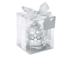 Skleněný vánoční svícen PERCEPT se třpytivou svíčkou - stříbrná