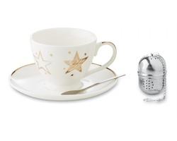 Vánoční sada keramického šálku BROTH s čajovým infuzérem - vícebarevná