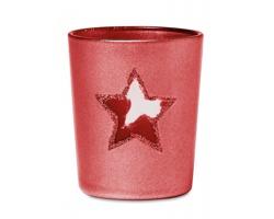 Skleněný vánoční svícen ANTED s průhledem tvaru hvězdy - červená