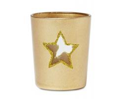 Skleněný vánoční svícen ANTED s průhledem tvaru hvězdy - krémová champagne