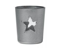 Skleněný vánoční svícen ANTED s průhledem tvaru hvězdy - stříbrná